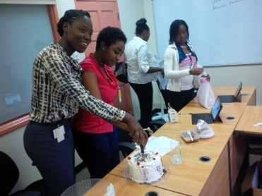 Surprise cake for 2 team members celebrating birthdays in the first week of October.